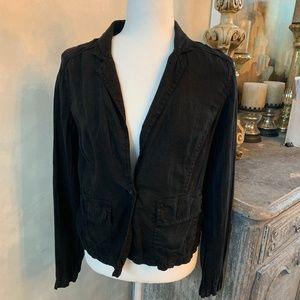 Caslon Black Linen One-Button Blazer/Jacket